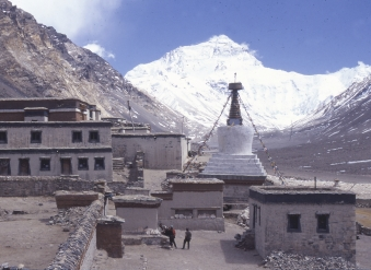 view of North Face of Everest from Rongbuk Monastery - Tibet