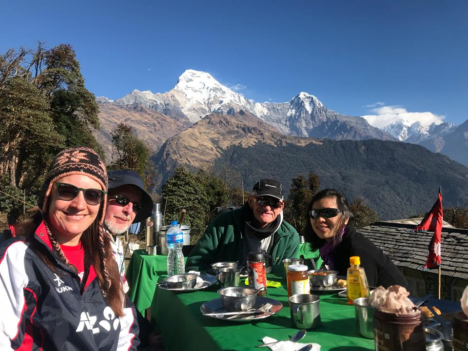 CKY School Teachers enjoying a regular breakfast day in the Himalaya