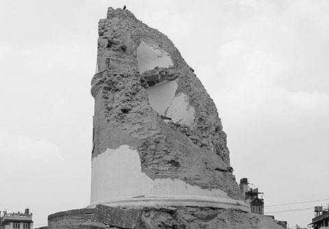 The remains of Dharahara after the quake
