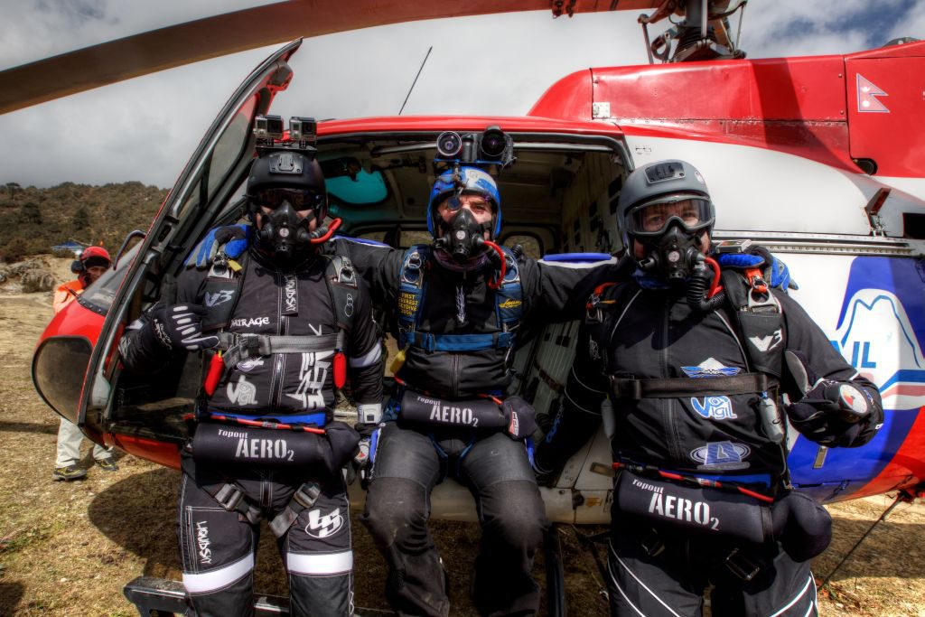 Geared up for the dive facing mighty Everest