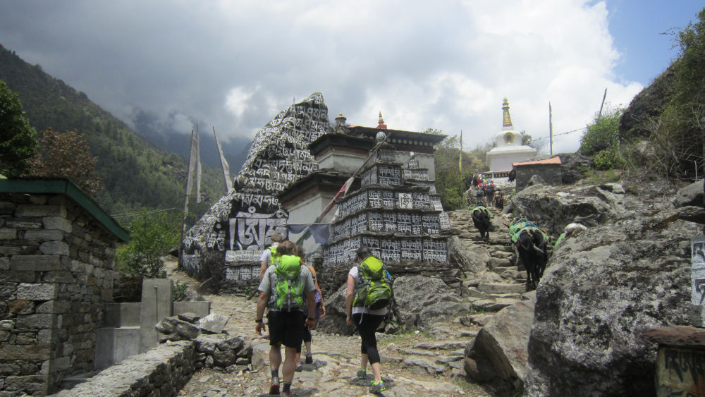 Mani walls at Ghat- 2 hours walk from Lukla