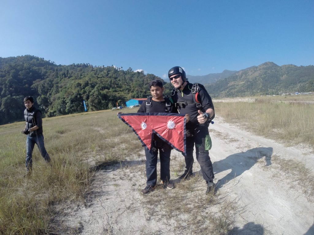 Pokhara Skydive with Nepali flag