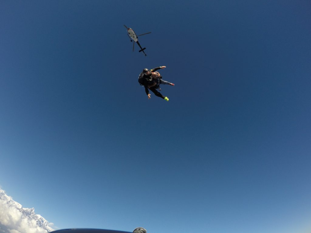 Whoosh...there you go, off the chopper, in the Himalaya! Pokhara Skydive