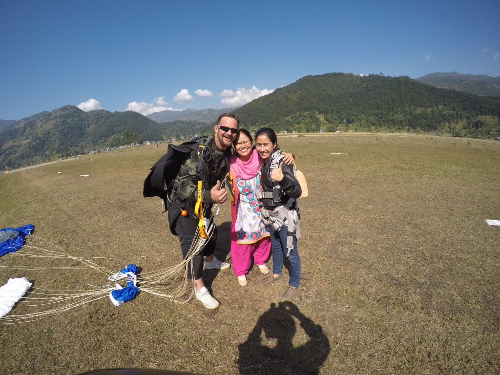 Happy Mother after seeing her daughter fly!! Pokhara Skydive