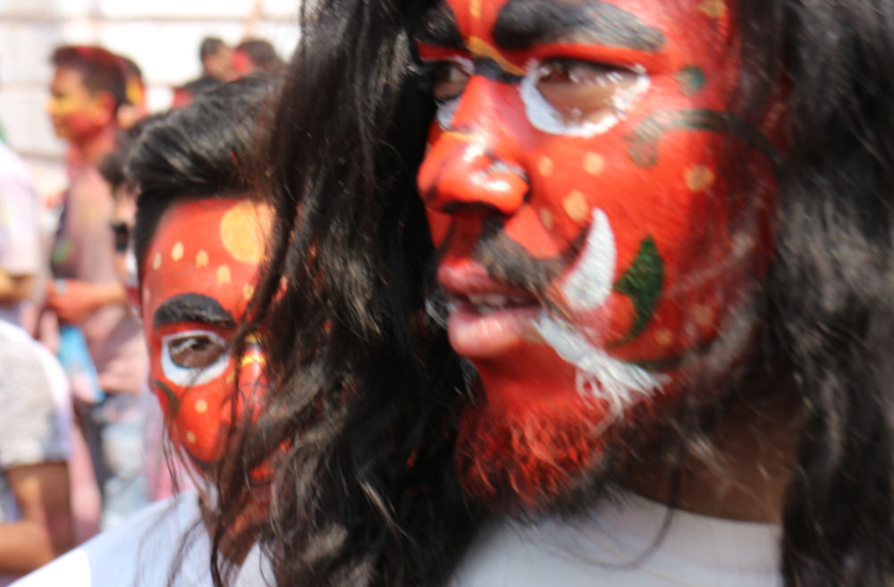 We have got the looks dude! Colorful faces at Holi festival in Kathmandu