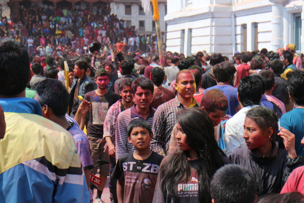 Crazy mass thronging in Holi at Basantapur