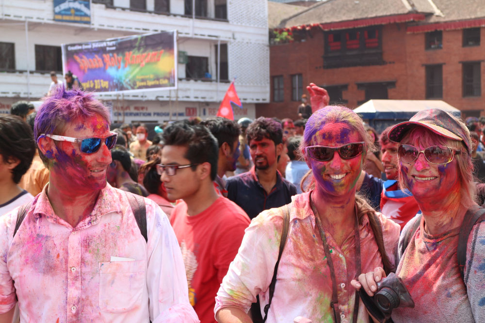 Everyone is beautifully colored so why not us? Tourists love the colorful festival of holi