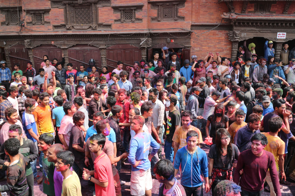 Backstage is also full of fun - musical program at holi in kathmandu durbar square