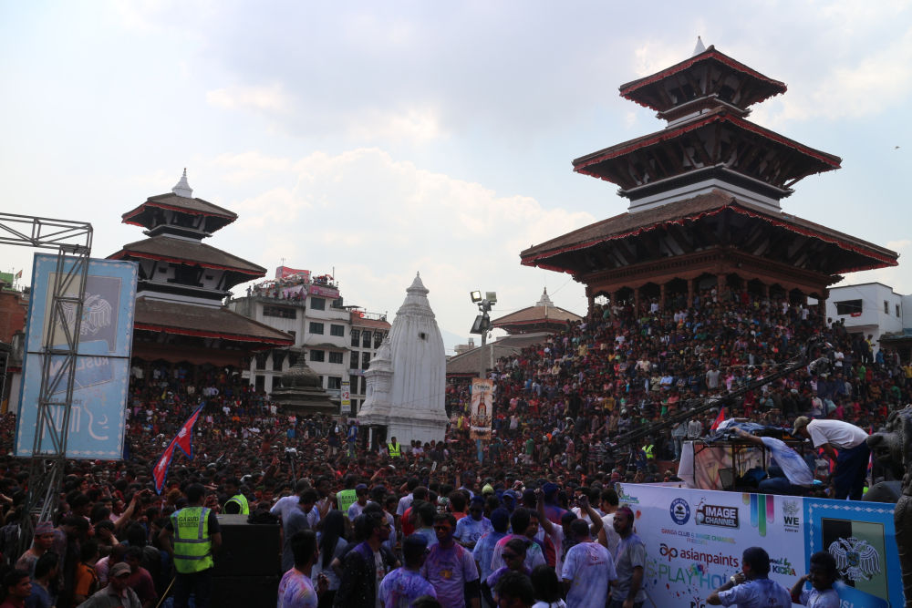 A view at Kathmandu Durbar Square during Holi