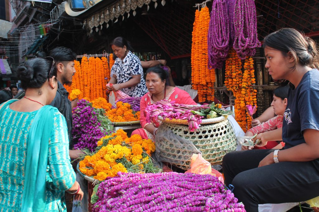 Flower vendors in front of Annapurna Temple at Ason chowk