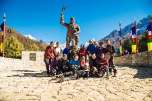 Malaysian trekkers at Tenzing Norgay Sherpa monument in Namche Bazar (3450m)