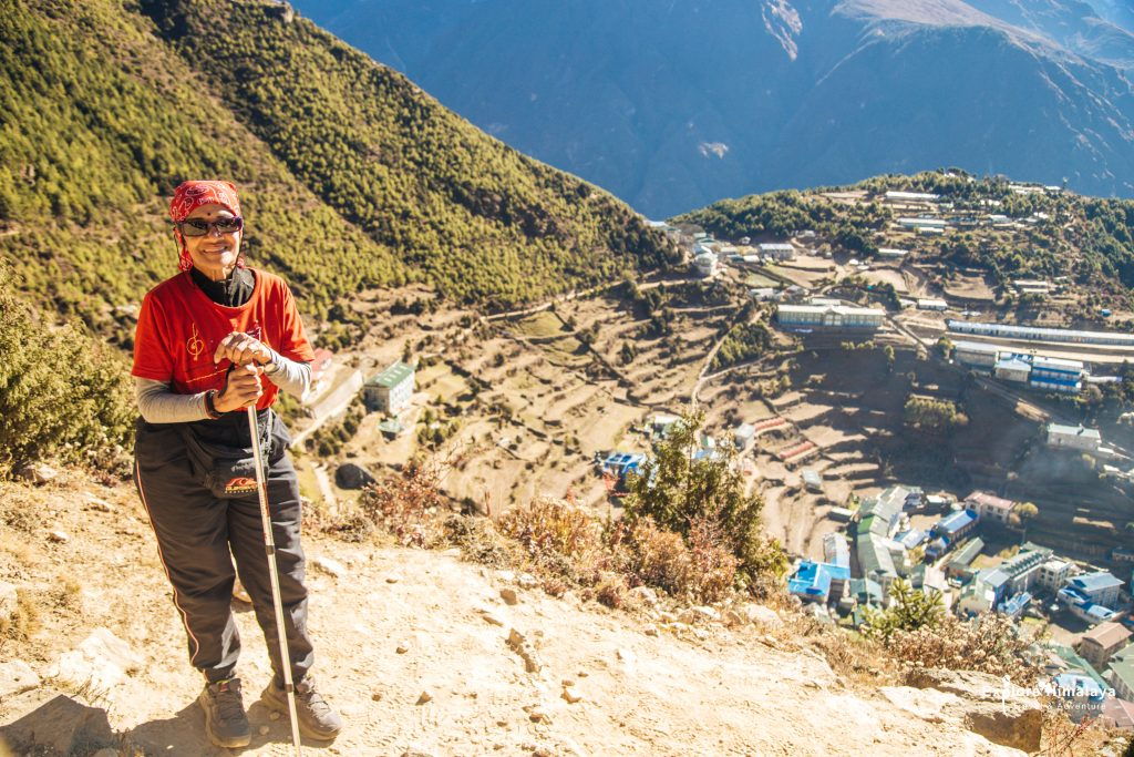 Ranee aged 73, the eldest member at the hilltop overlooking Namche