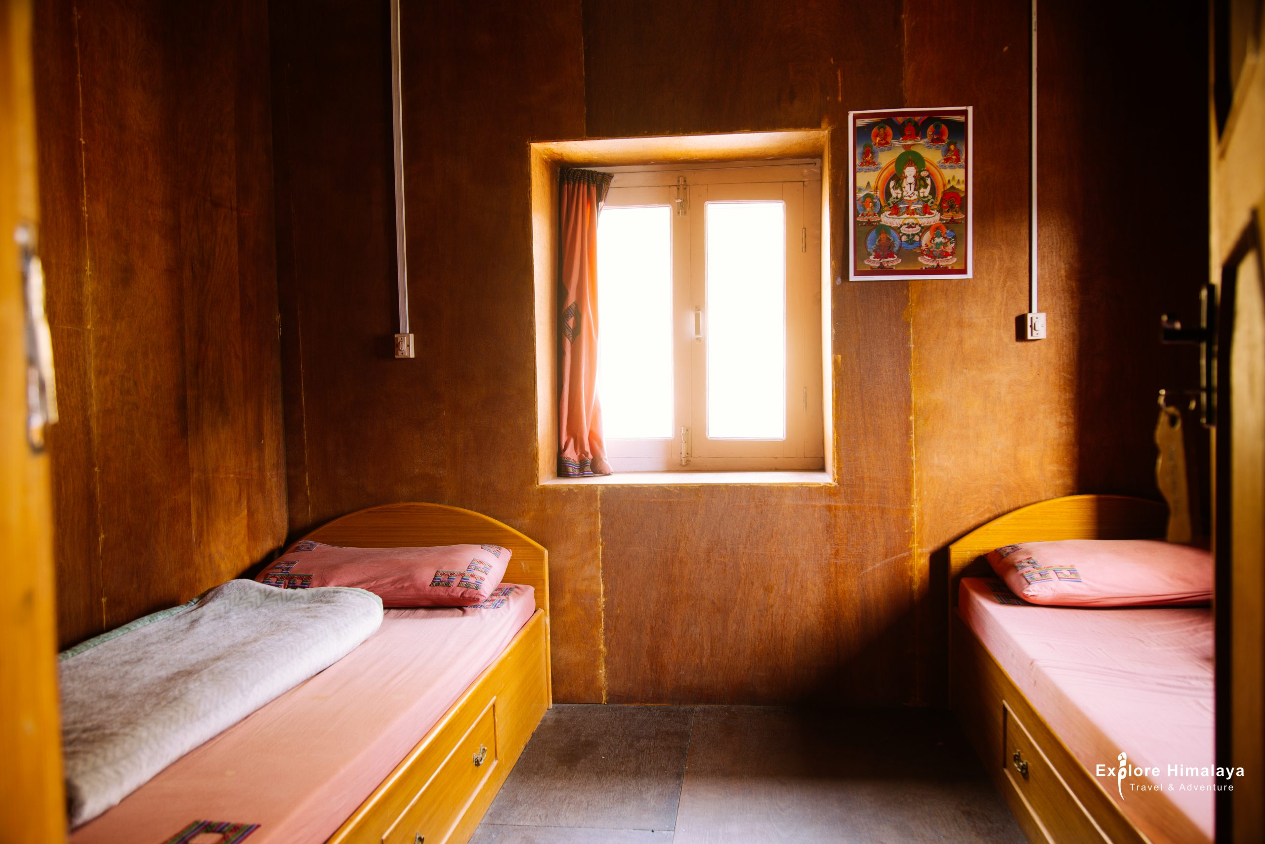 Accommodation in Everest Base Camp trek - A twin room in a tea house twin room