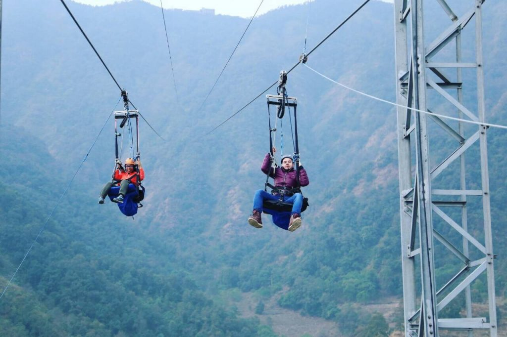 Zipflying, a vertical drop of 600 metres covering a distance of 1.8 km with an inclination of 56 degree.