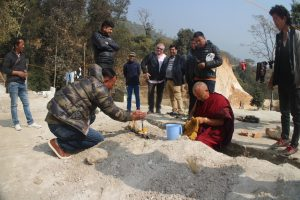 Preparing for Puja before laying the Foundation Stone
