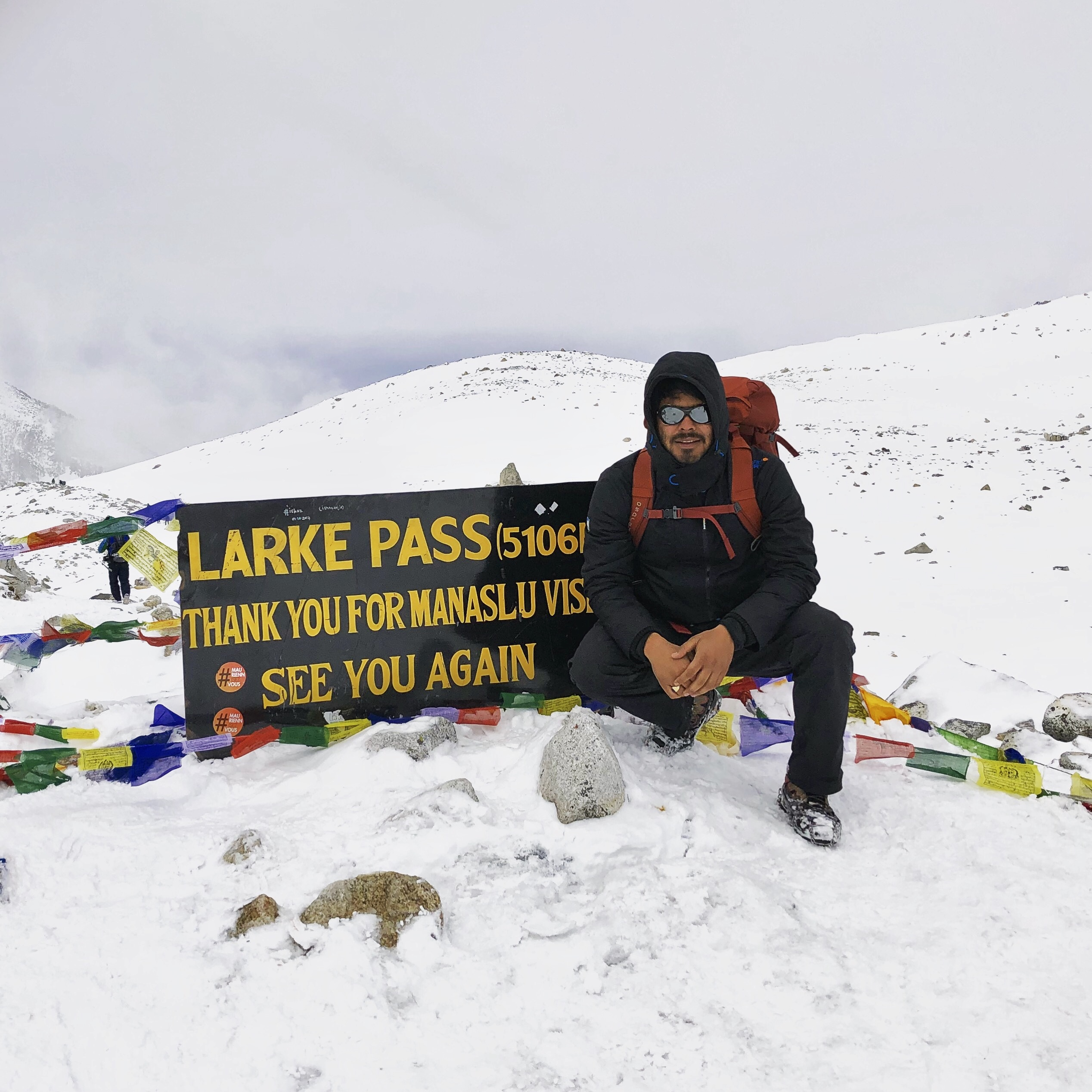At Larke Pass (5106m), the highest point of the Trek