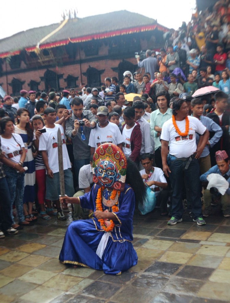 The blue Bhairav performs religious dance during Indra Jatra