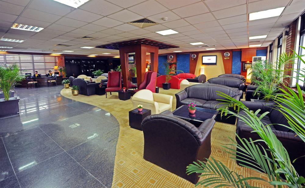 Lounge View with Reception in Airport Executive Lounge