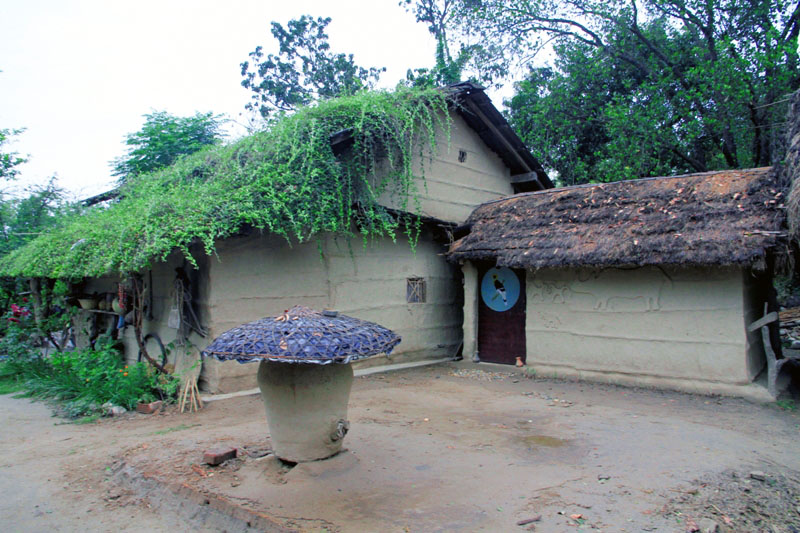 Traditionally adorned Tharu house