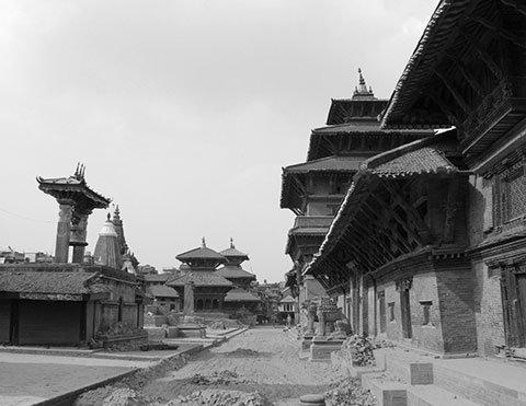 Patan Durbar Square now- most of the historic monuments stood intact