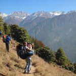 A student group does volunteering in Nepal during Langtang Trek