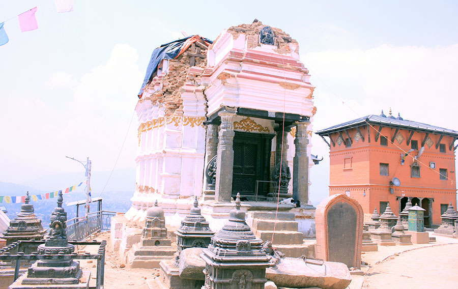 Few monuments demolished and few stood tall during the quake 25/04 at Swayambhu