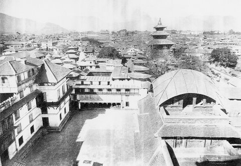 View from Basantapur Durbar Square in 1920. Taleju temple, the then highest building is visible in background.