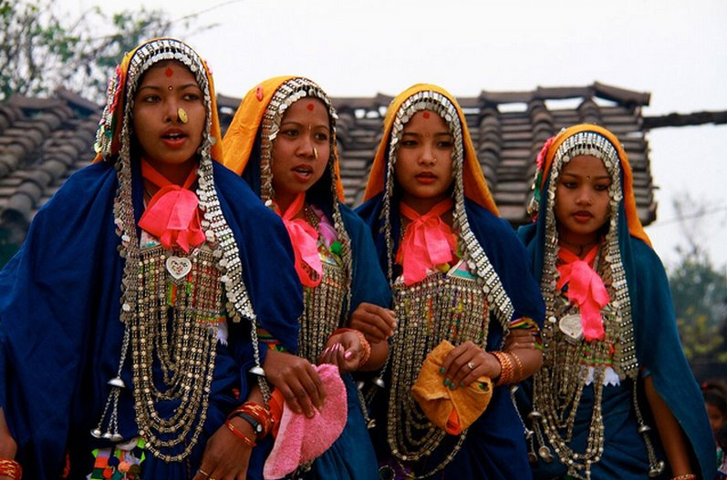 beautiful-tharu women-in traditional-dress&-ornaments