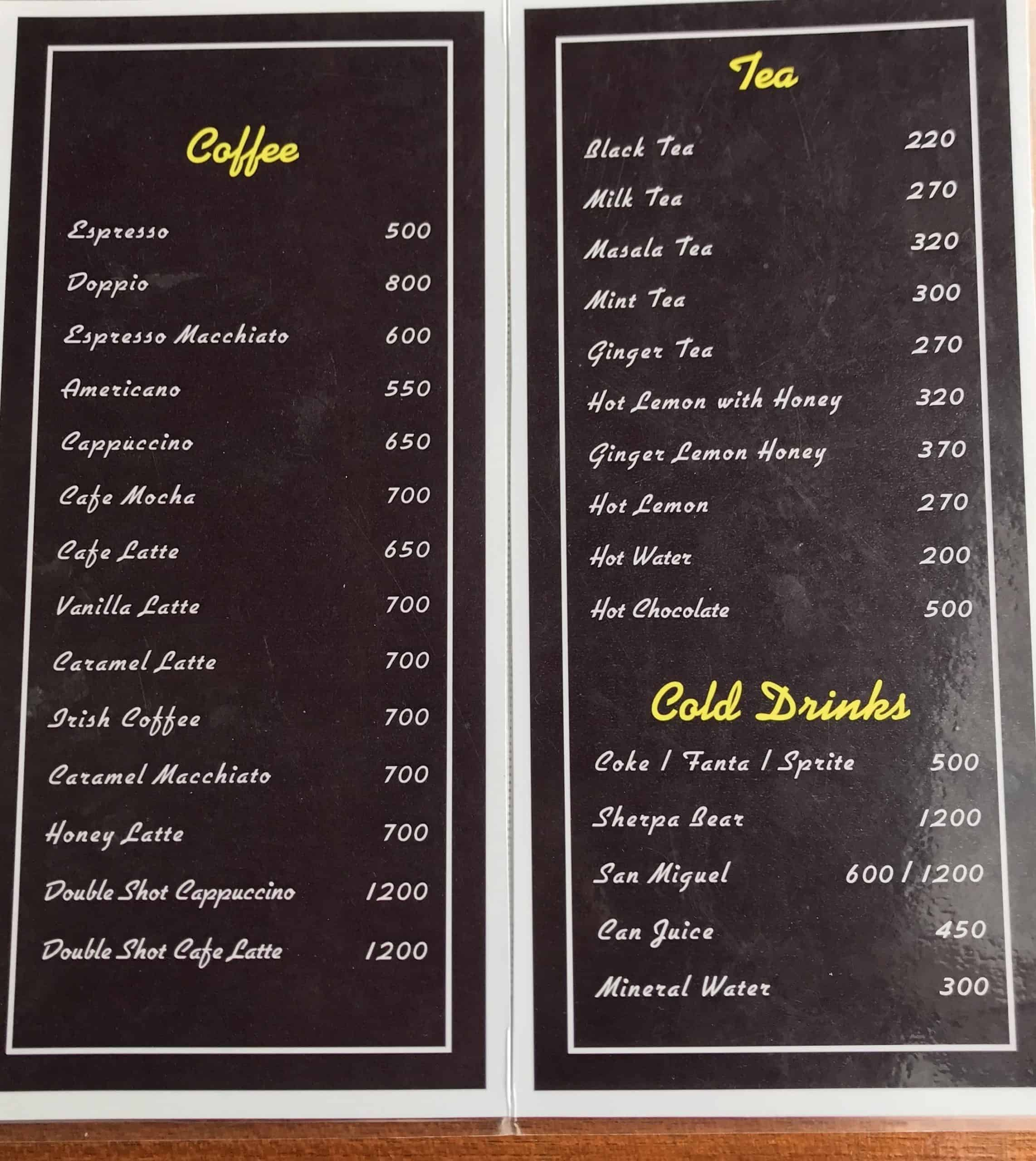 Drink Menu at World's Highest Bakery Cafe at Lobuche