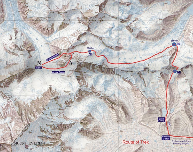 Map - Following the Foot Steps of Mallory - Everest Trek