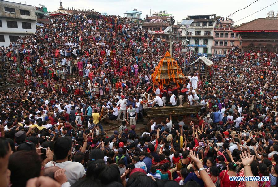 Indra Jatra festival after earthquake! There used to be a temple above the steps.