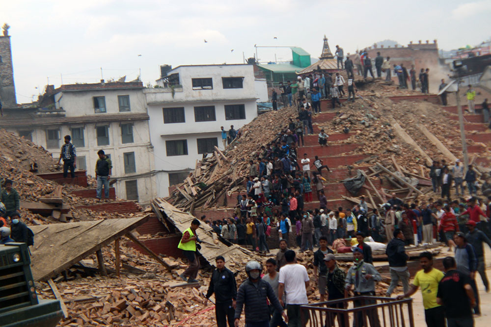 Temples at Kathmandu Durbar Square collapse during the quake
