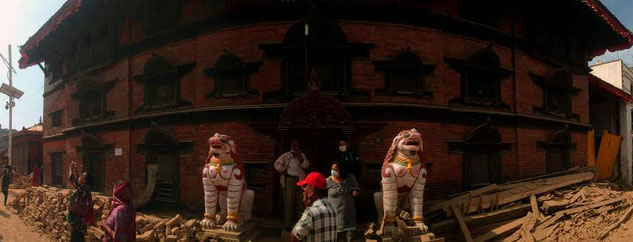 The home Living Goddess, Kumari Bahal at Kathmandu Durbar Square survives the quake