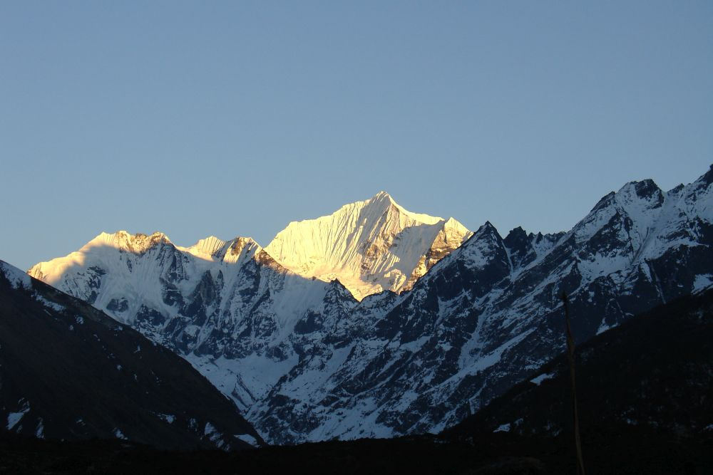 Langtang Lirung dominates the sky in Langtang valley