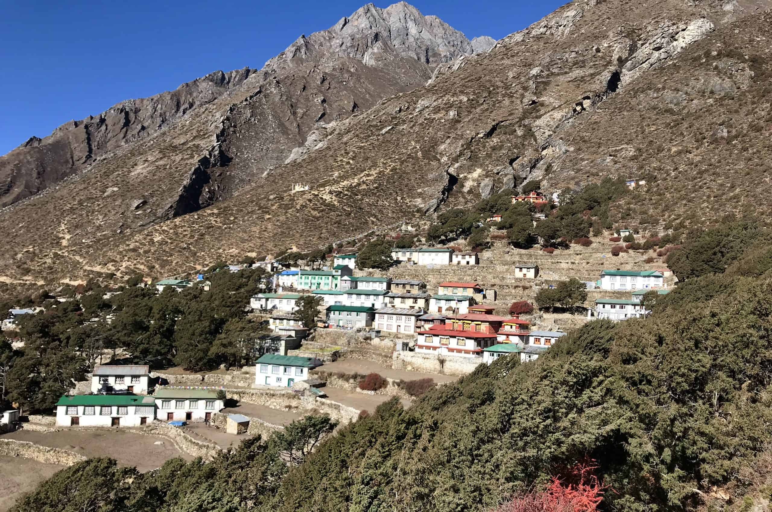 Pangboche village with monastery