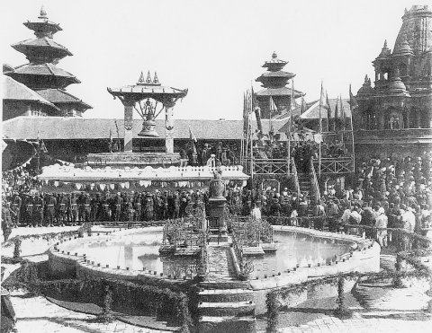 in the 19th century. The statue in the middle was later transferred to Patan Museum.