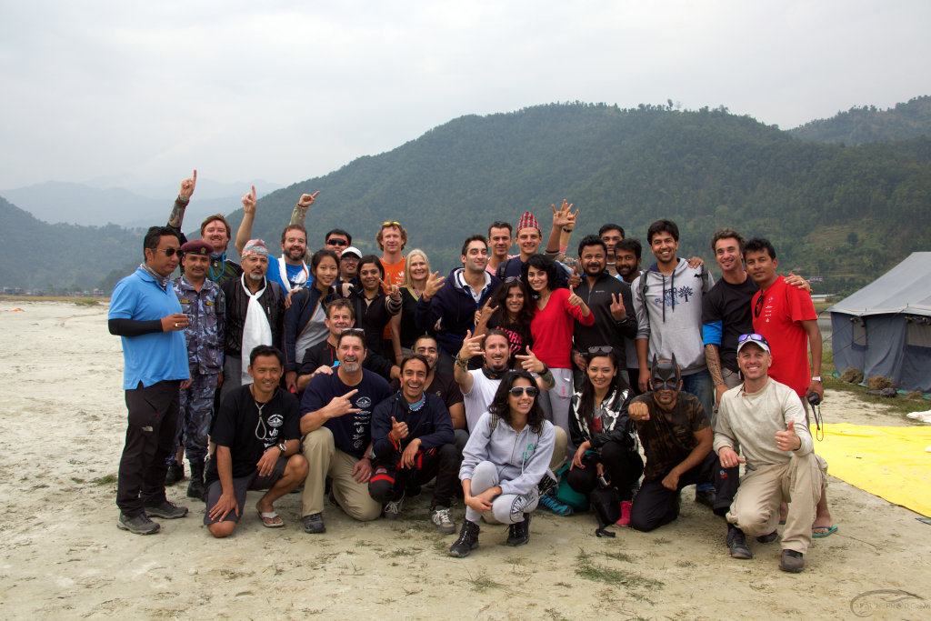 The crew and the skydivers, joyful to be part of Pokhara Skydive