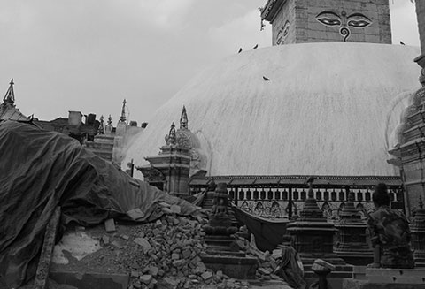 Swayambhunath Stupa after the quake 4/25