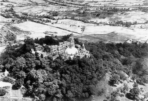 "Swayambhunath Stupa, aslo known as ""Monkey Temple"" as seen in the 1960."