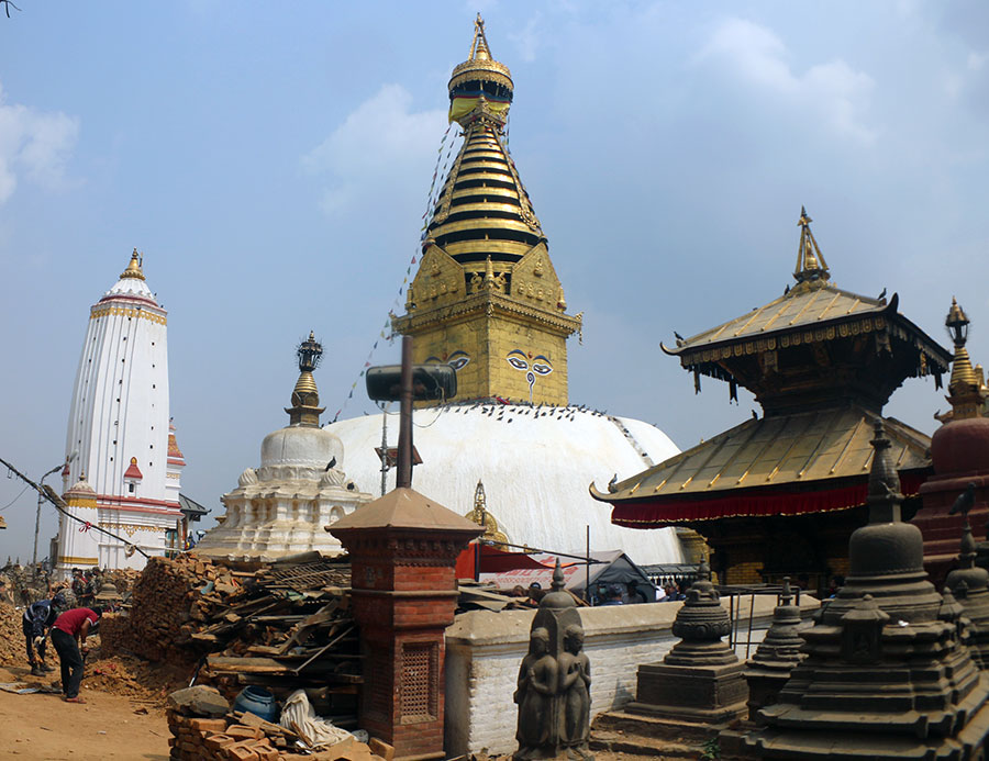 The main stupa of Swayambhunath stands tall after the powerful quake