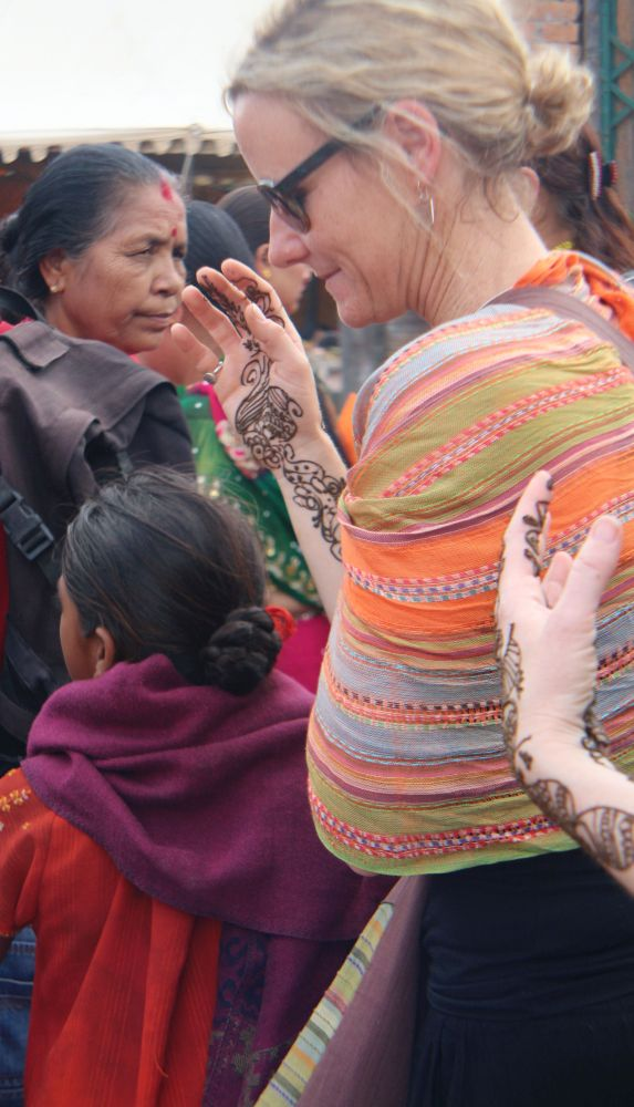 Foreigners interest in Nepalese festival Teej - Western lady has a beautiful