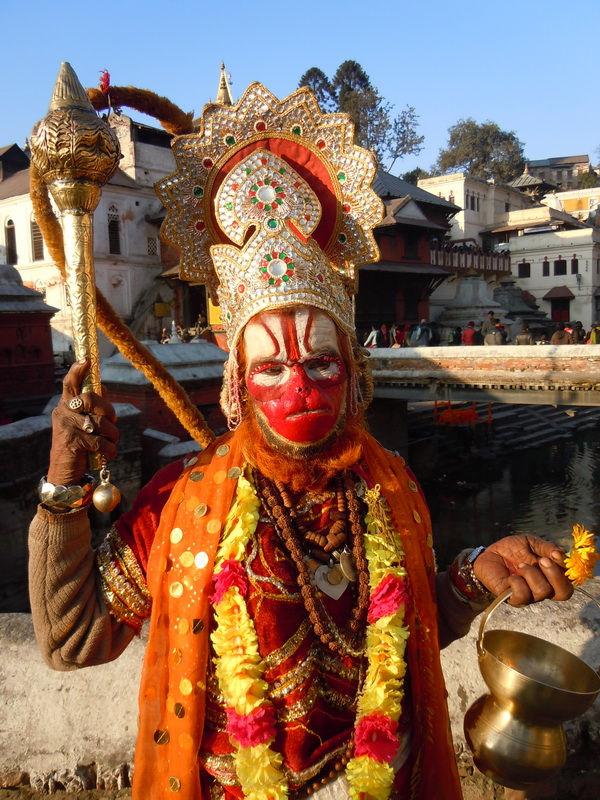 Devotee dressed and masked as Monkey God- Hanuman