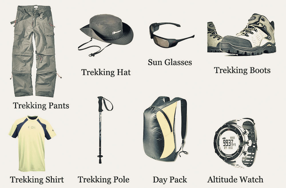 required trekking gears during the trek in Nepal