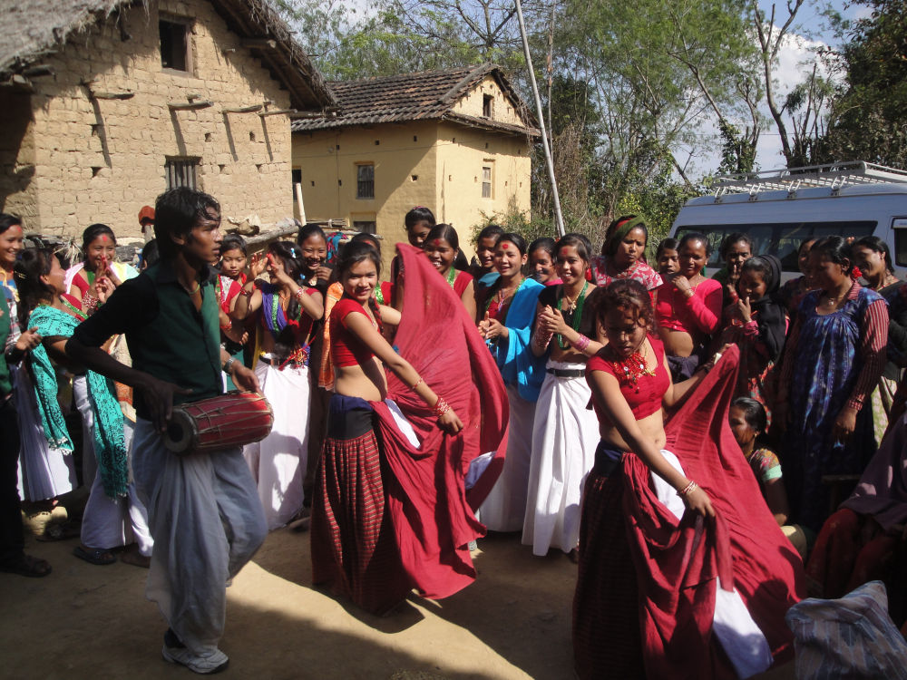 Tharu cultural dance at Mathariya VDC in Dang