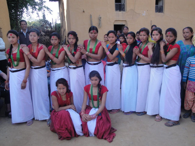Tharu girls in typical Tharu attire at Dang